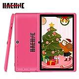 Haehne 7 Inch Tablet PC - Google Android 9.0 Pie, 1G RAM 16GB ROM, Quad Core, 1024 x 600 IPS HD Display, Dual Camera, 2800mAh, WiFi, Bluetooth (Pink)