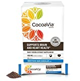 CocoaVia Heart & Brain Supplement, Dark Chocolate Flavor, Sweetened l Vegan and Plant Based Cocoa Flavanol Supplements for Improved Cognitive Function and Heart Health l 30 Packets, 1 Per Serving