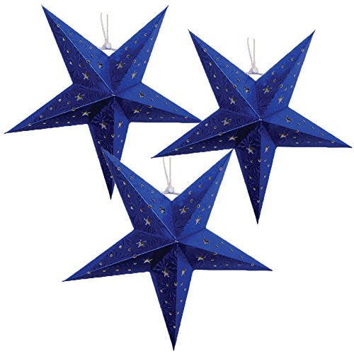 Just-Artifacts-Star-Shaped-Paper-LanternLamp-Hanging-Decoration-Set-of-3-18inch-Blue