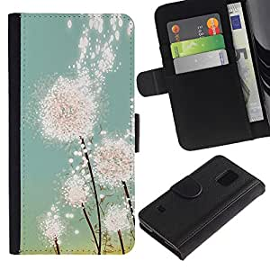 Planetar® Modelo colorido cuero carpeta tirón caso cubierta piel Holster Funda protección Para SAMSUNG Galaxy S5 V / i9600 / SM-G900 ( Dandelion Sun Painting Summer Spring )