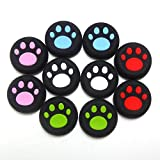 5 Pair / 10 Pcs Replacement Cat Pad Style Silicone Thumb Grip Stick Analog Joystick Cap Cover for Ps3 / Ps4 / Xbox 360 / Xbox One Game Controllers Black