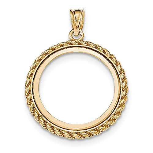 14k Yellow Gld Casted Rope Polished Prong 1/4oz American Eagle Coin Bezel