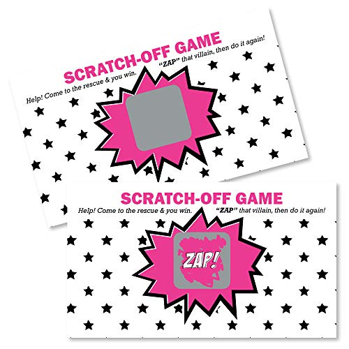 Big Dot of Happiness Bam Girl Superhero - Baby Shower or Birthday Party Game Scratch Off Cards - 22 Count]()