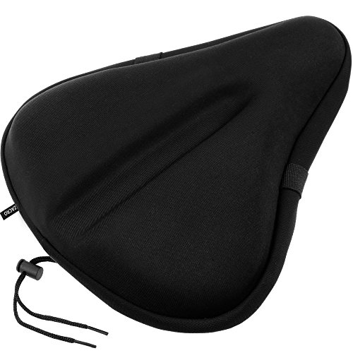 Zacro Gel Bike Seat, Big Size Soft Wide Excercise Bicycle Cushion for Bike Saddle, Comfortable Cover Fits Cruiser and Stationary Bikes, Indoor Cycling, Spinning with Waterpoof Cover (Black, L)