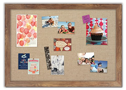 Framed Fabric Bulletin Board with Barnboard Frame / Burlap Fabric