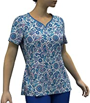 Digital Print Stretch Scrubs Top - Pandamed Curved Notch Neck 3-Pocket Women Stretch Top PPS102