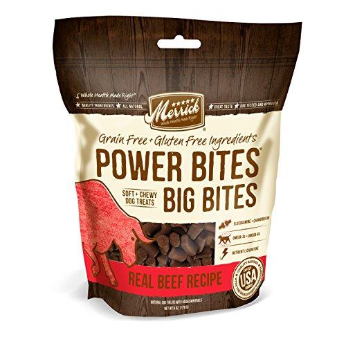 Large Bites - Merrick Power Bites - Big Bites Real Beef Recipe Dog Treat, 6oz