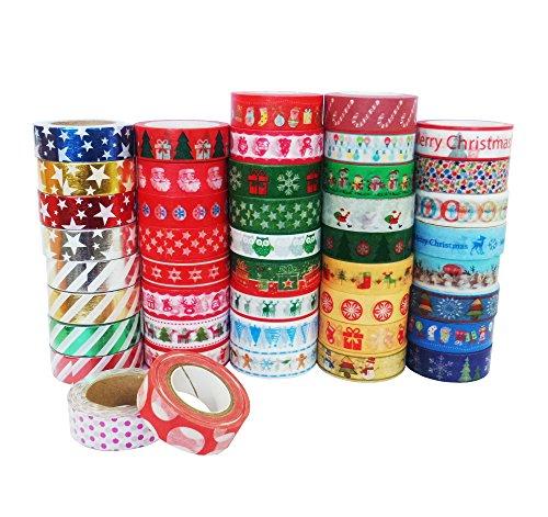 Yunko Decorative Craft Washi Masking Paper Tape Christmas Tape (Set of 12 -