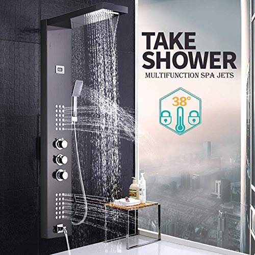 (WANNA.ME Brushed Nickel Thermostatic Shower Faucet Waterfall Rain Shower Panel 3 Handles Bathroom Shower Mixer Column with Handshower)