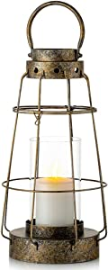 Nuptio Decorative Lantern Large Hanging Hurricane Pillar Candle Holders for Tabletop Display, Vintage Distressed Candle Lantern with Glass for Home Decor Wedding Party Patio Centerpiece
