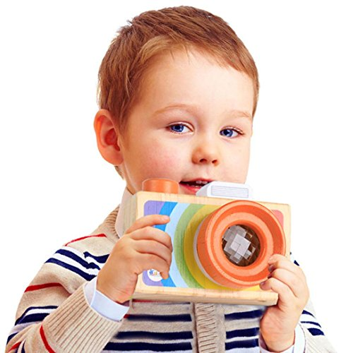 DZT1968 1pc Pretending Wooden Toys My First Camera For 18 months Kids Play Kaleidoscope Picture Lens - Cream Kaleidoscope