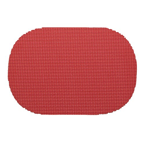 12 Piece Flag Red Placemats,(Set of 12), Machine Washable, Solid Pattern, Oval Shape, Contemporary And Traditional Style, Perfect For Everyday Entertaining, Season Or Holiday Lace Material, Ruby by PATRIOT HOME