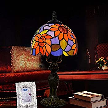8 Inch Tiffany Style Table Lamp, Stained Glass Design Desk Lamp, Mediterranean Creativity Table Lamp, Bedroom/Bedside/Living Room/Studyroom Decorative Desk Lamp, E271 GJX