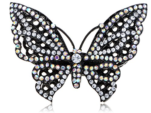 (Alilang Womens Adjustable Black Tone Glitter Clear Crystal Rhinestone Butterfly Ring)