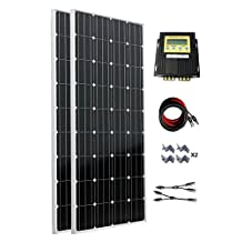 ECO-WORTHY 300W 12v 24v Off Grid Tie Battery Charger Complete Solar Panel Kit: 2pcs 160W Mono Solar Panels+20A MPPT Charge Controller+Solar Cable+MC4 Branch Connectors Pair+Z Bracket Mounts