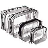 Meowoo Clear Toiletry Bags,4 Pcs Transparent PVC Waterproof Zippered Makeup Cosmetic Pouch Carry on Travel Wash Bag