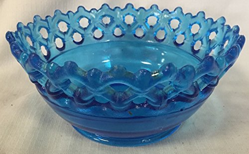 Colonial Blue Glass Doric Open Lace Pattern Bowl USA American Made
