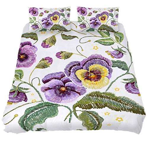 Flower Blocks Crib Set - Desheze Purple Flower Wrinkle Resistant Dampproof Bedding Set 1 Duvet Set 102 x 90 inches and 2 Pillow Cases 19 x 29 inches Twin Full King Queen for Men Women Kids