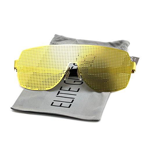 Elite Disco Costume Party Rave Alien Space Futuristic Mesh Shield Lens Visor Glasses (Gold, (Futuristic Woman Costume)