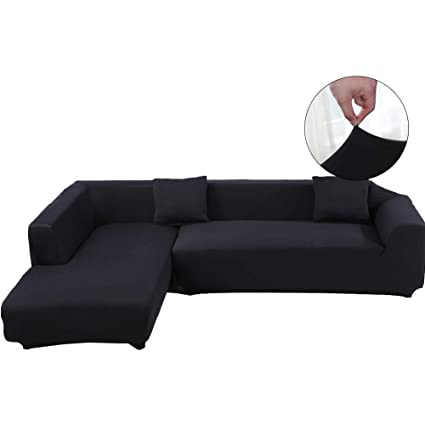 WOMACO Sectional Couch Covers L Shape Sofa Cover Slipcover 2 pcs Stretch  Slipcover for 2-Piece Sectional Sofa (L-Shape, Black)