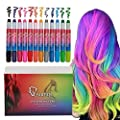 Qivange Hair Chalk Pens 12 Colors Bright for Black Grey Dark Brown Hair, Kids Temporary Washable Hair Color Girls Non-Toxic Hair Dye for Teens Adults Party Cosplay, Birthday Gift