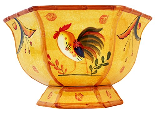 Pedestal Fruit Bowl, Decorative Bowl Rooster (Yellow Bowl Decorative)
