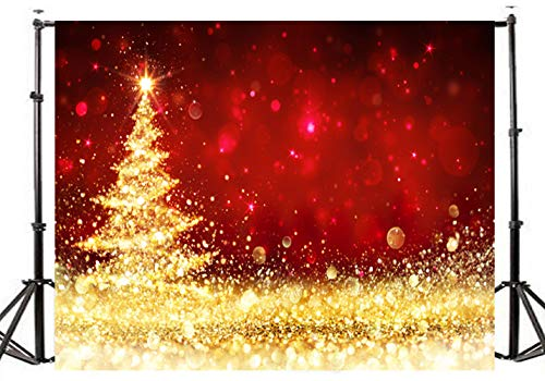 TMOTN 7x5ft Golden Shimmer Christmas Tree Photography Backdrop Red Vinyl Photo Background Studio Prop D2207