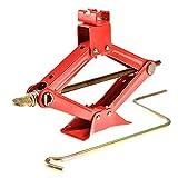 Leoneva Red Steel Heavy Duty Auto Scissor Jack 1.5 Ton for Car/Truck/SUV/Motorcycle/ATV Jacks Lifting -3000 lb. Capacity