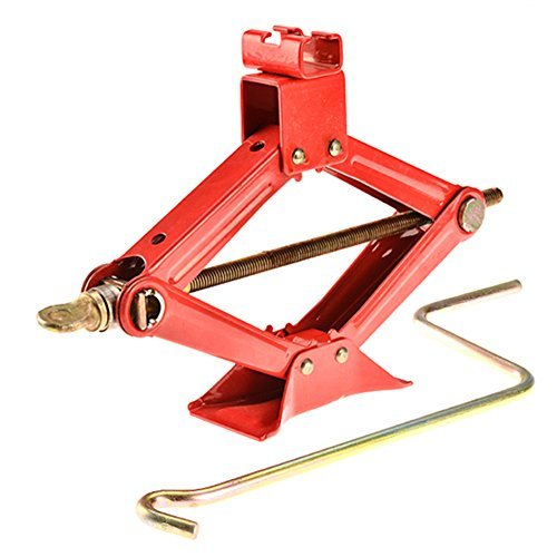 Leoneva Red Steel Heavy Duty Auto Scissor Jack 1.5 Ton for Car/Truck/SUV/Motorcycle/ATV Jacks Lifting -3000 lb. Capacity by Leoneva
