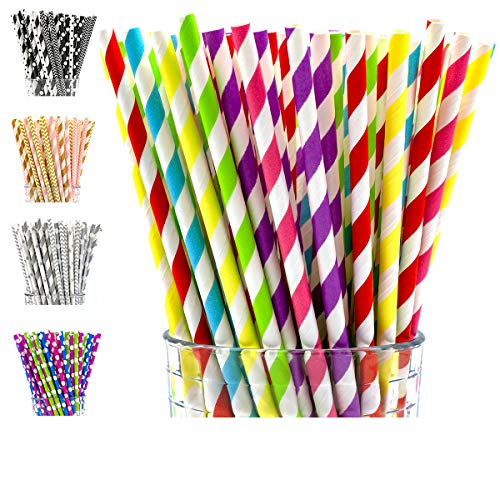 (PGK 200 Box Paper Straws | Rainbow Paper Straws | Rainbow Party Decorations | Party Straws | 50s Theme Party Decoration | Smoothie Straws | Sock Hop Decorations (Rainbow)