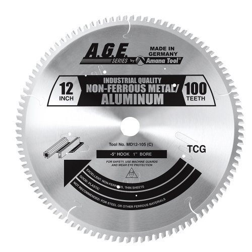 A.G.E. Series by Amana Tool MD12-105 Non-Ferrous Thin Walled 12-Inch Diameter by 100-Teeth by 1-Inch Bore, TC Grind Carbide Tipped Saw Blade