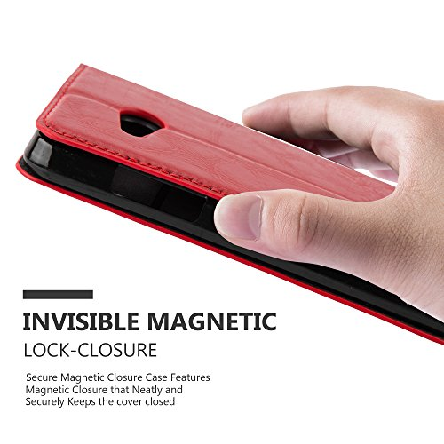 Cadorabo Case works with Nokia Lumia 550 Book Case in APPLE RED (Design INVISIBLE CLOSURE) – with Magnetic Closure, Stand Function and Card Slot – Wallet Case Etui Cover PU Leather by Cadorabo (Image #5)