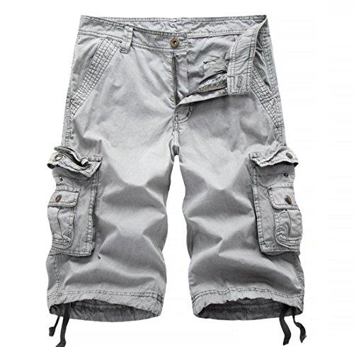 Long Inseam Shorts (Men's Multi-pocket Slim Fit Solid Cargo Shorts Limestone 34)