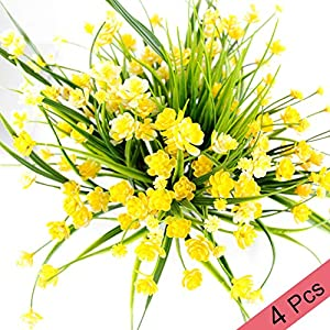Piqiuoso Artifical Fake Flowers, 4pcs Daffodils Plastic Plants Artifical Flowers Unique Christmas Decoration Gifts for Indoor Outside Wedding Cemetery Home Garden Corridor Decor 103