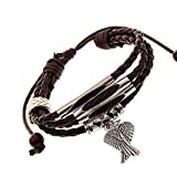 Mens Womens Alloy Genuine Leather Braided Surfer Wrap Bracelet, Vintage ...