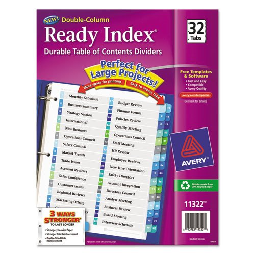 Ready Index Two-Column Table of Contents Divider, Title: 1-32, Multi, Letter, Sold as 32 Each