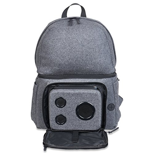 Backpack Cooler with 15-Watt Bluetooth Speakers & Subwoofer for Parties/Festivals/Beach/School. Rechargeable Cooler Backpack, Works with iPhone & Android (Gray, 2019 Edition)