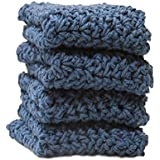 4 Denim Blue Crochet Round Dishcloth Set Long Lasting 100% Cotton