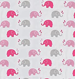 Bacati Elephants Muslin 4 Piece Set of Burpies or Bibs, Pink/Grey