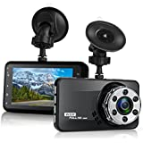 Dash cam, Car Camera Full HD 1920x1080p 3.0 inch LCD Screen Dash Cam for Car, 170 Degree Angle with G sensor, Loop recording, WDR, Motion Detection (1080P)