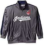 MLB Cleveland Indians Men's Team Reflective Tricot Track Jacket, 3X/Tall, Charcoal/Navy