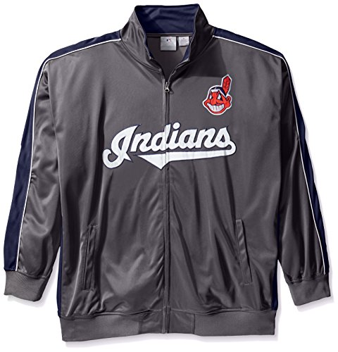 MLB Cleveland Indians Men's Team Reflective Tricot Track Jacket, 4X, Charcoal/Navy