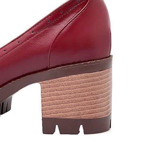 Zapatos Rojo Medio Tacón Mujeres Aalardom Cerrada Sólido Puntera Hebilla De Pu RqpHwx78