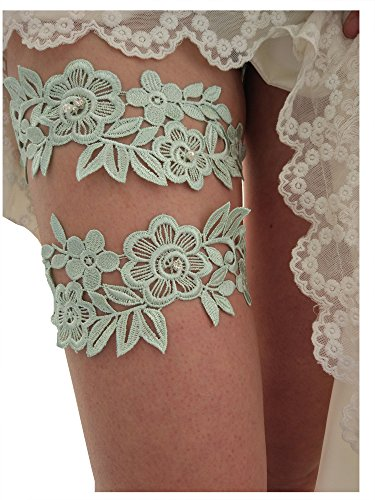 Classic lace crystals pearls wedding garter set s06 (Mint green)