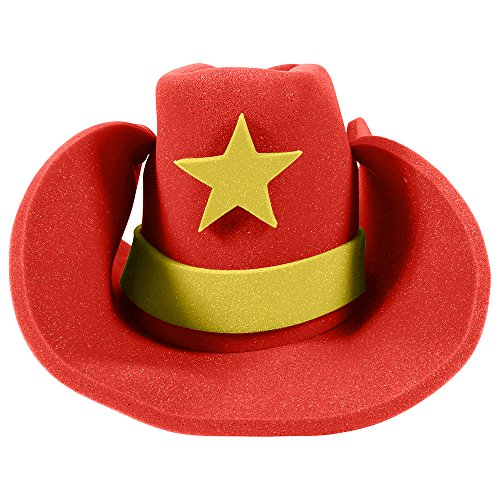 Women's Lone Cowgirl Costumes (Huge Funny and Crazy Red Cowboy Hat Super Size Cowgirl Hats Funny Party Hats)