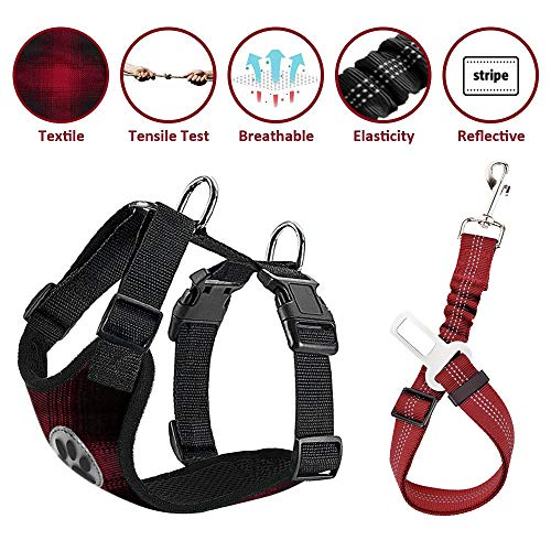 - Lukovee Dog Safety Vest Harness Seatbelt, Dog Car Harness Seat Belt Adjustable Pet Harnesses Double Breathable Mesh Fabric Car Vehicle Connector Strap Dog (Medium, Plaid - Red & Black+Plaid Seatbelt)
