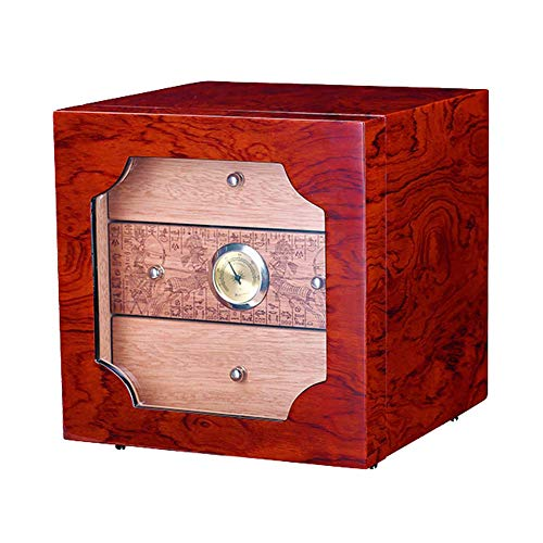 Large Capacity Cigar Humidor Cedar Wood Three Floors with Carved with Hygrometer and Humidifier for 100-120 Cigars,240 × 240 × 450MM