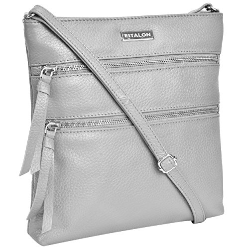 EASTER GIFT Hand Made Light Weight Small Genuine Leather Crossbody Bag Cross Over Purse Messenger Bags for Women Cross Body Shoulder Handbag (Light Grey Pebble) - Grey Crossover