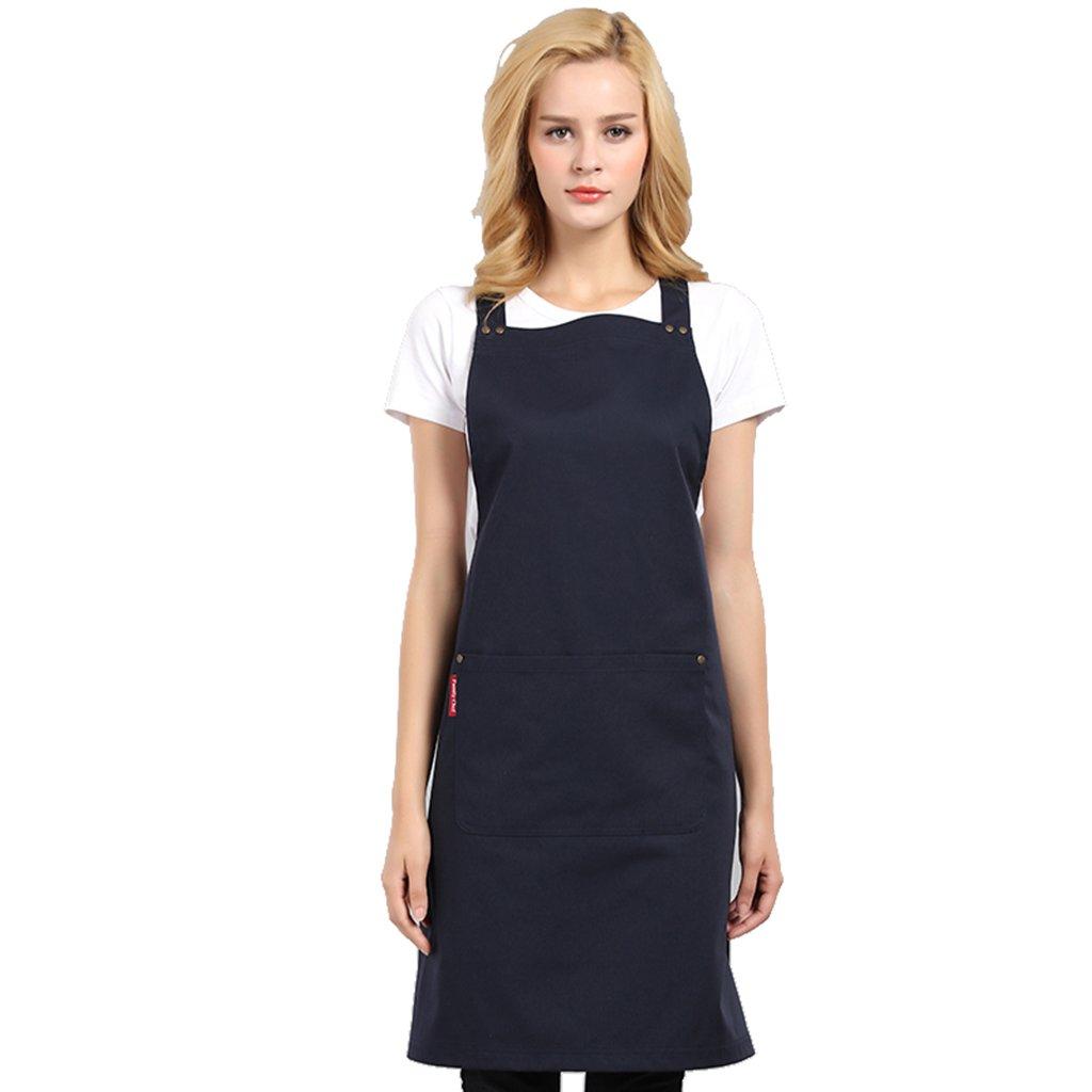 CFs uniforms Navy bib Chef Apron Long Style Women Kitchen Hotel Restaurant 2 Pockets