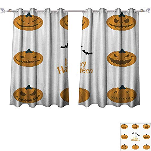 Philiphome Thermal Insulating Blackout Curtain Halloween Pumpkin Carving Set Happy Halloween Typography Vector Pocket Insulated Tie Up Curtains W84 x L72/Pair